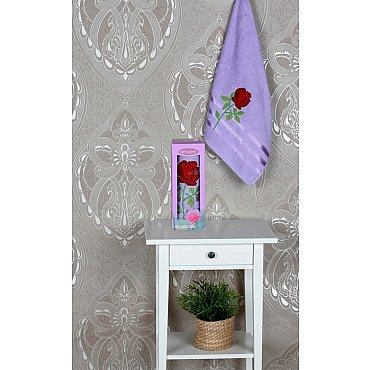 Полотенце Vevien Роза в коробке, лиловый, 50*90 см