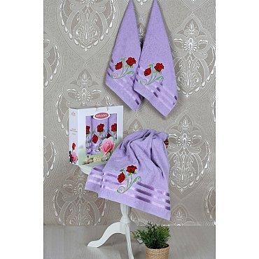 Комплект из 3-х полотенец Vevien Gul в коробке (50*90; 70*140), лиловый