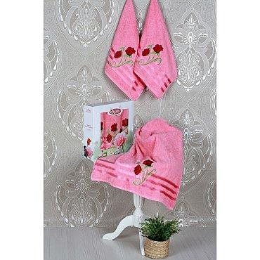 Комплект из 3-х полотенец Vevien Gul в коробке (50*90; 70*140), розовый