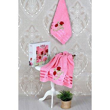 Комплект из 3-х полотенец Vevien Gul в коробке (50*90; 70*140), светло-розовый