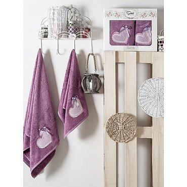Комплект полотенец Бамбук с вышивкой Dantela Kapli в коробке (50*90; 70*140), фиолетовый