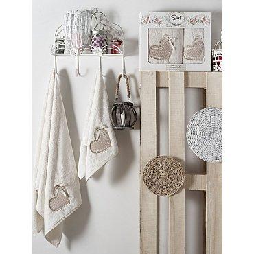 Комплект полотенец Бамбук с вышивкой Dantela Kapli в коробке (50*90; 70*140), кремовый