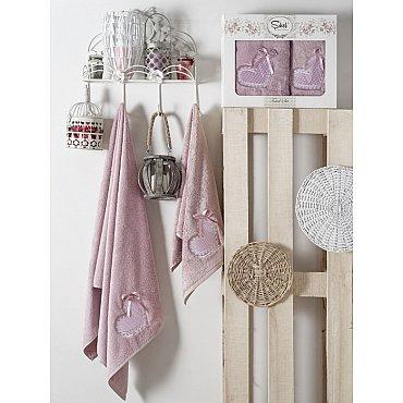 Комплект полотенец Бамбук с вышивкой Dantela Kapli в коробке (50*90; 70*140), лиловый