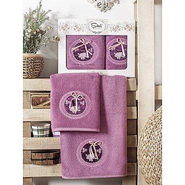 Комплект полотенец Бамбук с вышивкой Nazande в коробке (50*90; 70*140), фиолетовый
