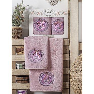 Комплект полотенец Бамбук с вышивкой Nazande в коробке (50*90; 70*140), лиловый