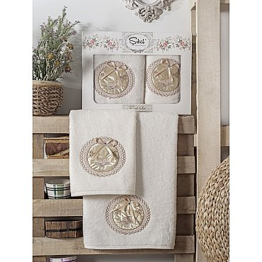 Комплект полотенец Бамбук с вышивкой Nazande в коробке (50*90; 70*140), кремовый
