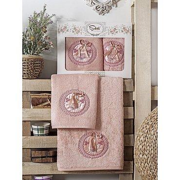 Комплект полотенец Бамбук с вышивкой Nazande в коробке (50*90; 70*140), пудра