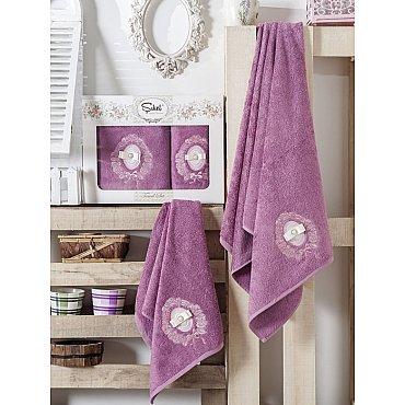 Комплект полотенец Бамбук с вышивкой Rodos в коробке (50*90; 70*140), фиолетовый