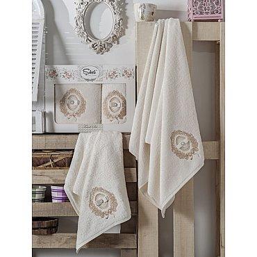 Комплект полотенец Бамбук с вышивкой Rodos в коробке (50*90; 70*140), кремовый