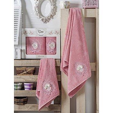 Комплект полотенец Бамбук с вышивкой Rodos в коробке (50*90; 70*140), розовый