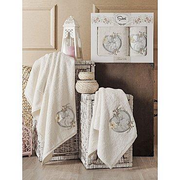 Комплект полотенец Бамбук с вышивкой Simli Kalp в коробке (50*90; 70*140), кремовый