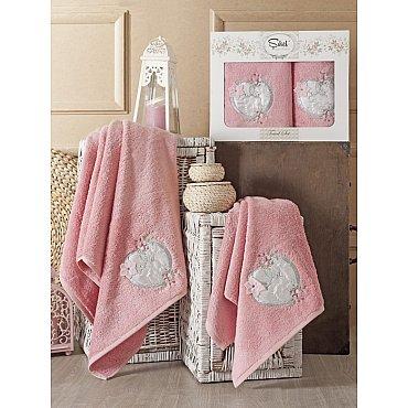 Комплект полотенец Бамбук с вышивкой Simli Kalp в коробке (50*90; 70*140), розовый