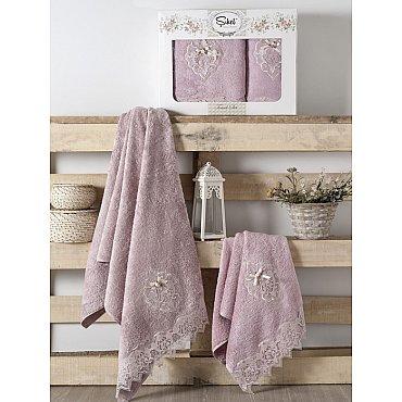 Комплект полотенец Бамбук с гипюром Palmira в коробке (50*90; 70*140), лиловый