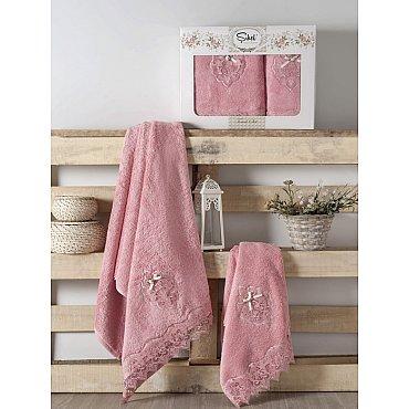 Комплект полотенец Бамбук с гипюром Palmira в коробке (50*90; 70*140), розовый
