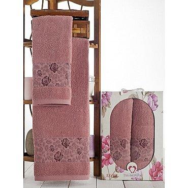 Комплект махровых полотенец Asiya в коробке (50*90; 70*140), брусничный