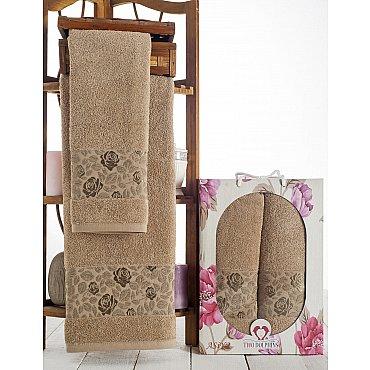 Комплект махровых полотенец Asiya в коробке (50*90; 70*140), молочный