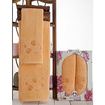 Комплект махровых полотенец Asiya в коробке (50*90; 70*140), персиковый