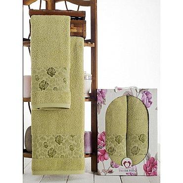 Комплект махровых полотенец Asiya в коробке (50*90; 70*140), зеленый
