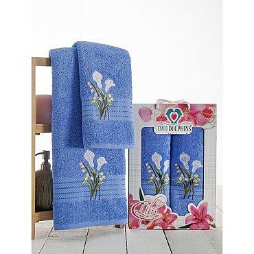 Комплект махровых полотенец Golden Lily в коробке (50*90; 70*140), голубой