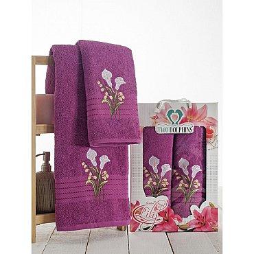 Комплект махровых полотенец Golden Lily в коробке (50*90; 70*140), лиловый