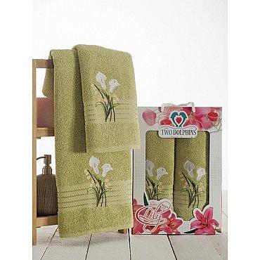 Комплект махровых полотенец Golden Lily в коробке (50*90; 70*140), зеленый