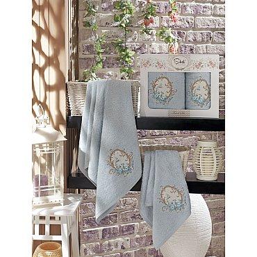 Комплект полотенец Бамбук с вышивкой Izgu в коробке (50*90; 70*140), голубой