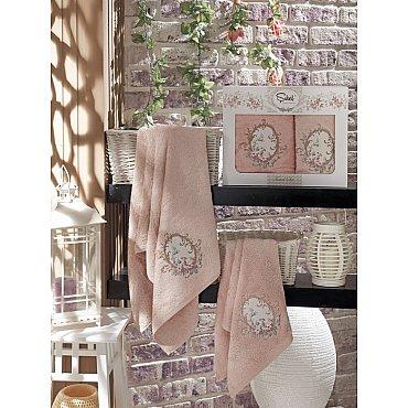 Комплект полотенец Бамбук с вышивкой Izgu в коробке (50*90; 70*140), пудра
