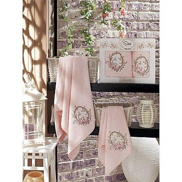 Комплект полотенец Бамбук с вышивкой Izgu в коробке (50*90; 70*140), розовый