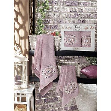 Комплект полотенец Бамбук с вышивкой Kamelya в коробке (50*90; 70*140), лиловый