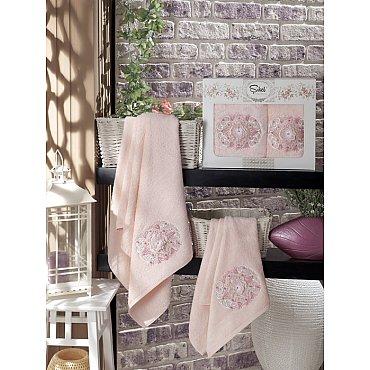 Комплект полотенец Бамбук с вышивкой Kamelya в коробке (50*90; 70*140), розовый
