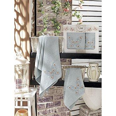 Комплект полотенец Бамбук с вышивкой Kasimpati в коробке (50*90; 70*140), голубой
