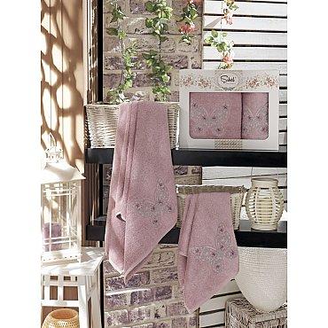 Комплект полотенец Бамбук с вышивкой Kasimpati в коробке (50*90; 70*140), лиловый