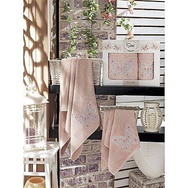 Комплект полотенец Бамбук с вышивкой Kasimpati в коробке (50*90; 70*140), розовый