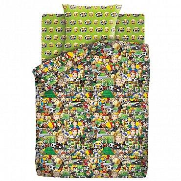 КПБ 1.5 хлопок Emoji (70х70) рис. 9030-1/9031-1 Футбол