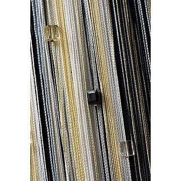 Кисея нитяная штора на кулиске радуга с камнями - Белая/серая/черная