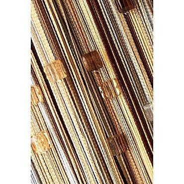 Кисея нитяная штора на кулиске радуга с камнями - Серебро/беж/шампань/коричневая