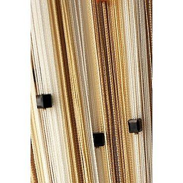 Кисея нитяная штора на кулиске радуга с камнями - Белая/бежевая