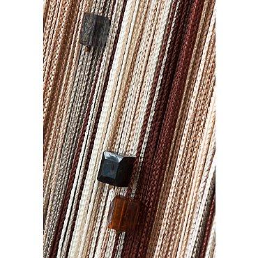 Кисея нитяная штора на кулиске радуга с камнями - Коричневая/бежевая