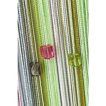 Кисея нитяная штора на кулиске радуга с камнями - Белая/розовая/серая/зеленая