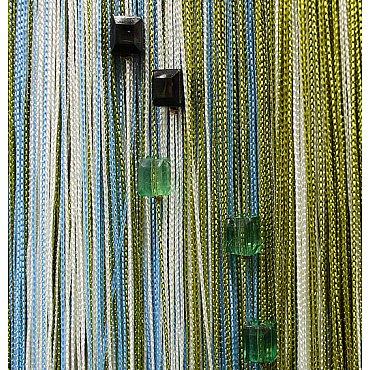 Кисея нитяная штора на кулиске радуга с камнями - Белая/голубая/фисташка