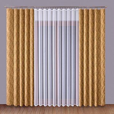 Комплект штор Primavera №1110061, коричневый, белый