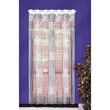 Кисея нитяная штора №526А на петлях, белый, 150*250 см