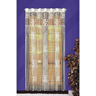 Кисея нитяная штора №526А на петлях, кремовый, 150*250 см