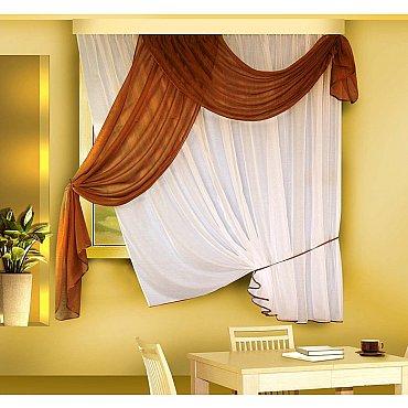 Комплект штор для кухни №Б066, коричневый