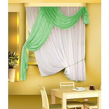 Комплект штор для кухни №Б066, салатовый