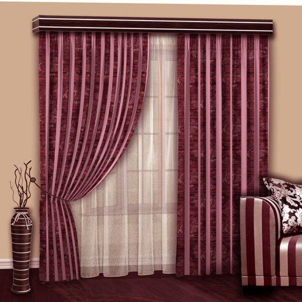 - 60% SALE     Комплект штор №103 Вензель-Брусничный с розовой шиниловой полосой (rt-103004)
