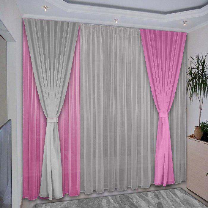 - 60% SALE     Комплект штор №038 Розовый, Серый (rt-100033)