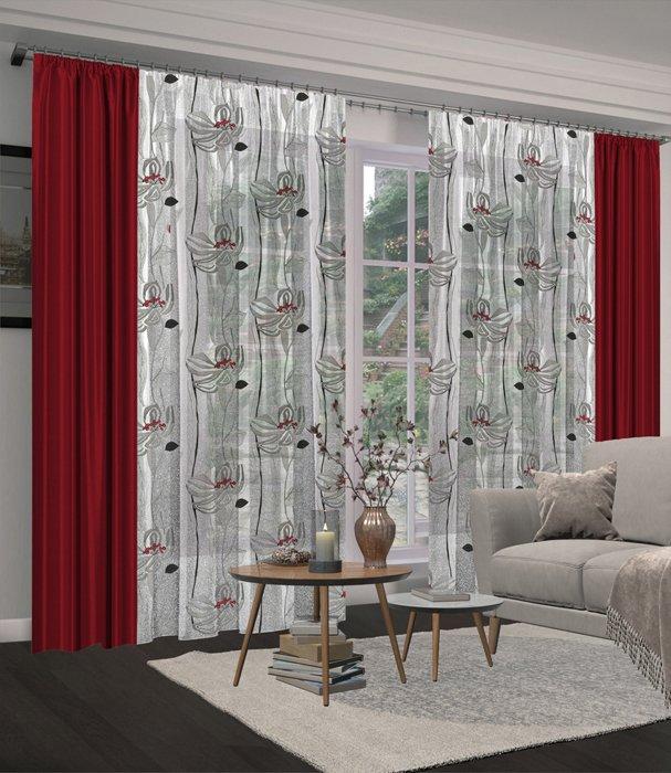 - 60% SALE     Комплект штор №129, бордо (rt-100178)