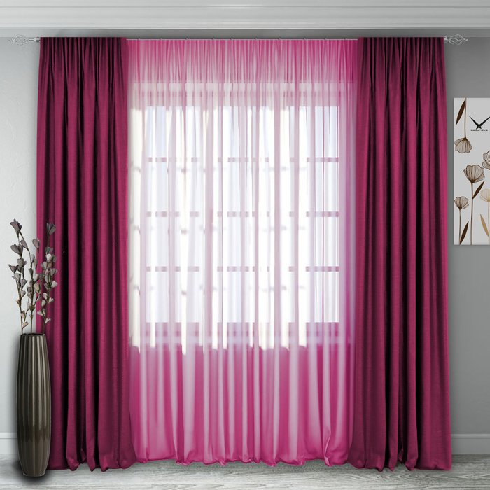 - 60% SALE     Комплект штор №140, малиново-розовый (rt-100244)