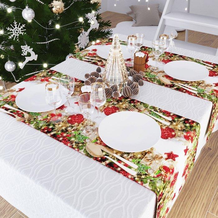 """Дорожка на стол """"Сюрпризы от Деда Мороза"""", 40*140 см (s-104381)"""
